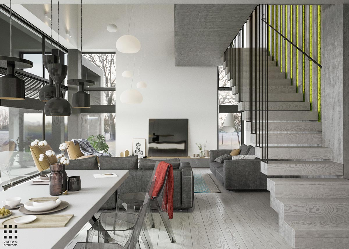 A Two Story Home With A Sleek Grey Color Palette
